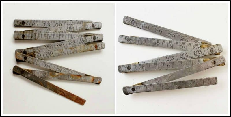 vintage folding ruler before and after rust