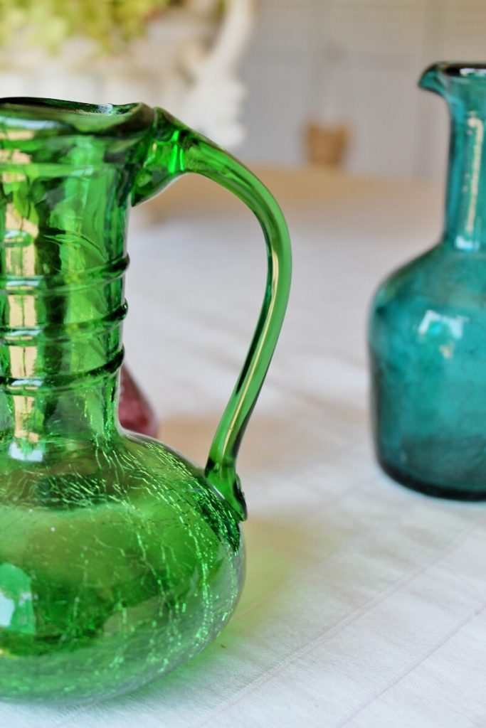 Vintage green crackle glass with applied decoration
