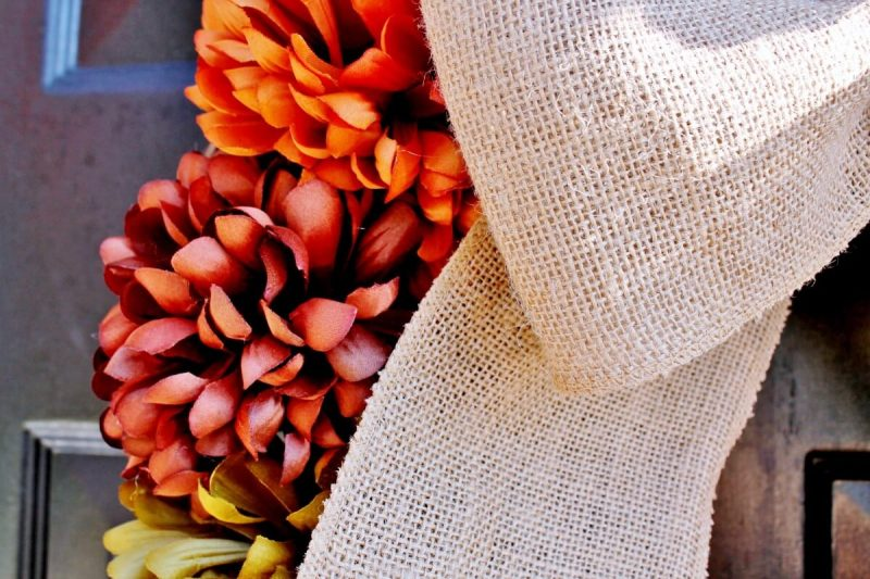 Close up of fall wreath