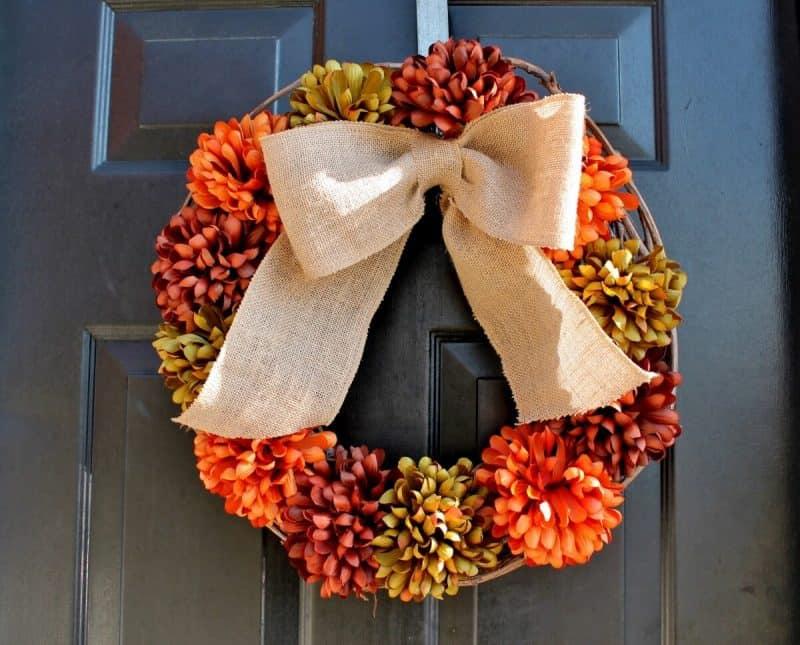 Faux Mum Fall Wreath