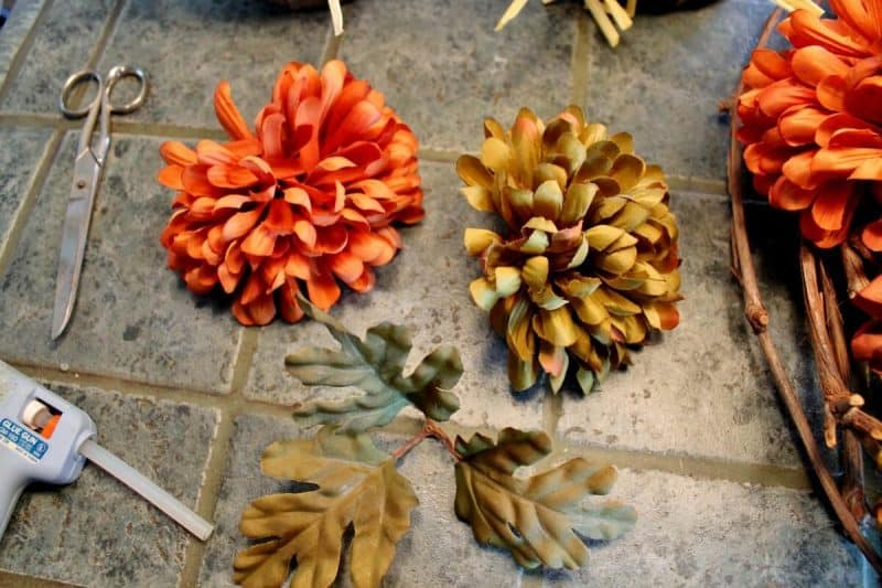 Materials for making faux mum wreath