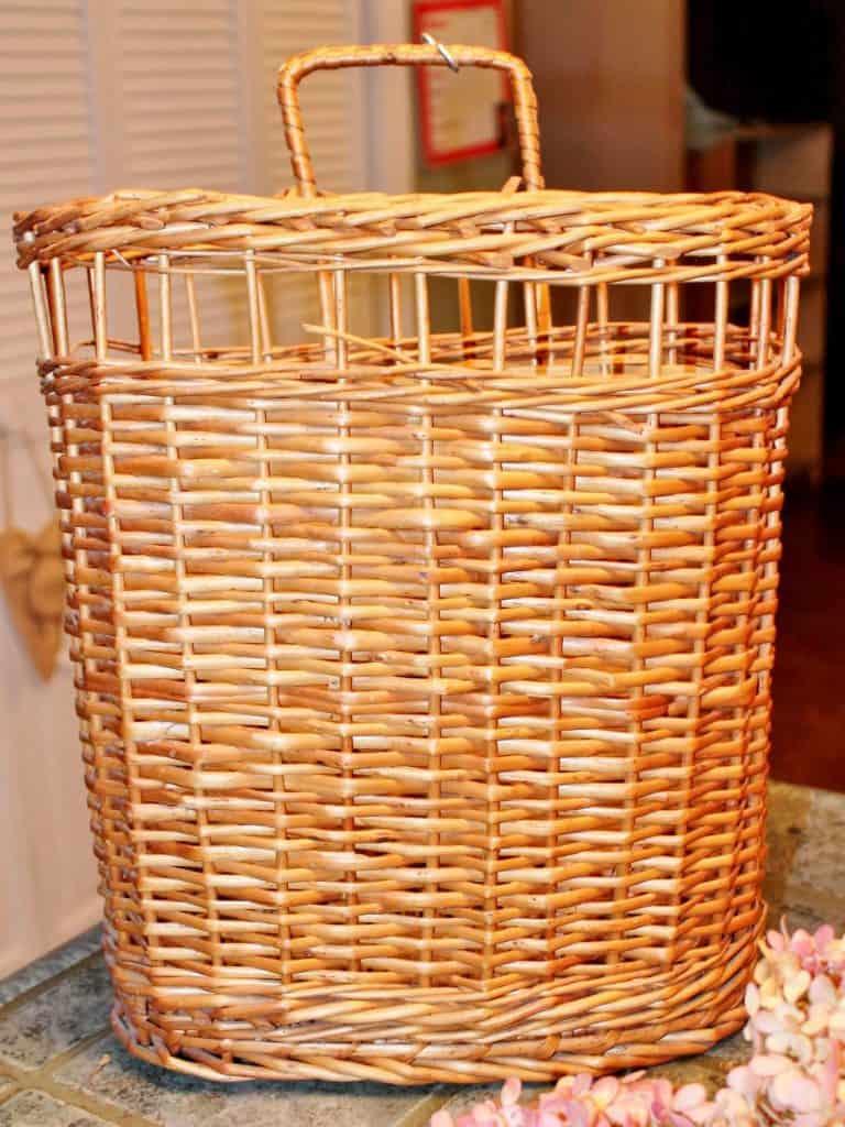 vintage hanging wicker basket