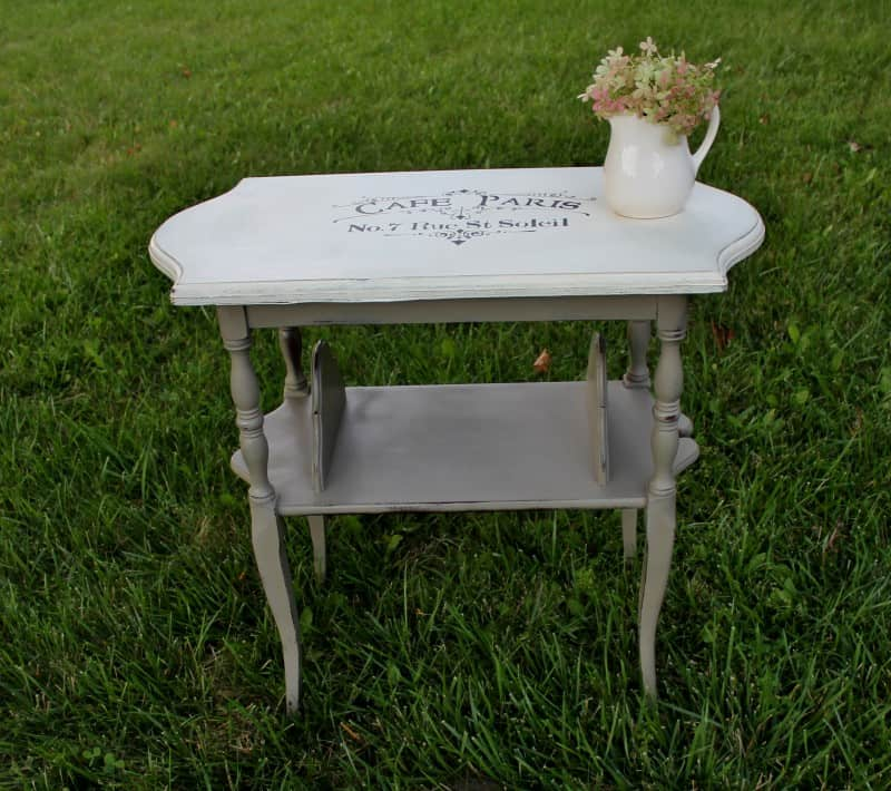 painted side table with stenciled top