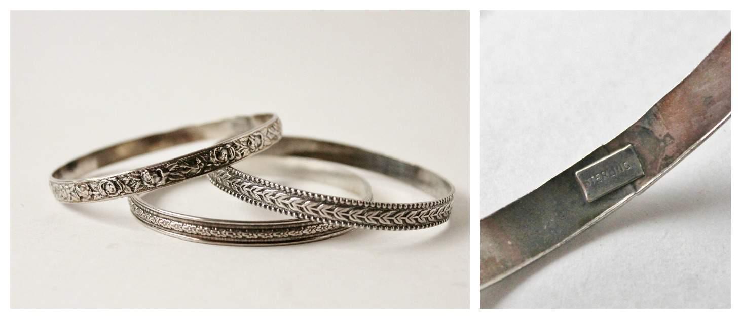 Three sterling bracelets