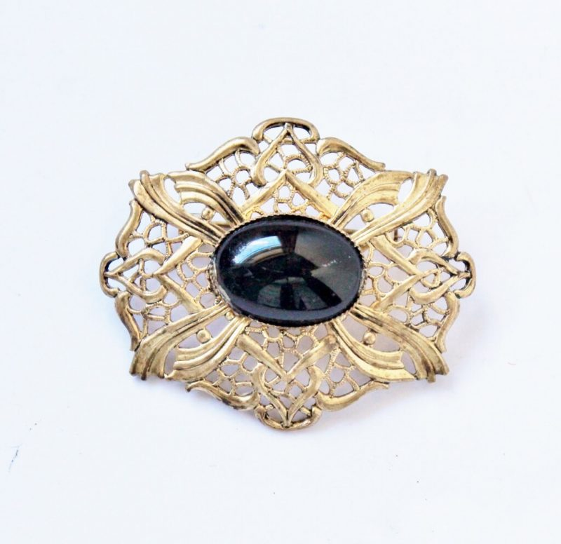 Vintage Costume Jewelry Vintage Brooch Large White and Black Stone BroochPin