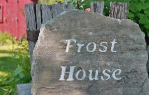 Frost House stenciled on stone