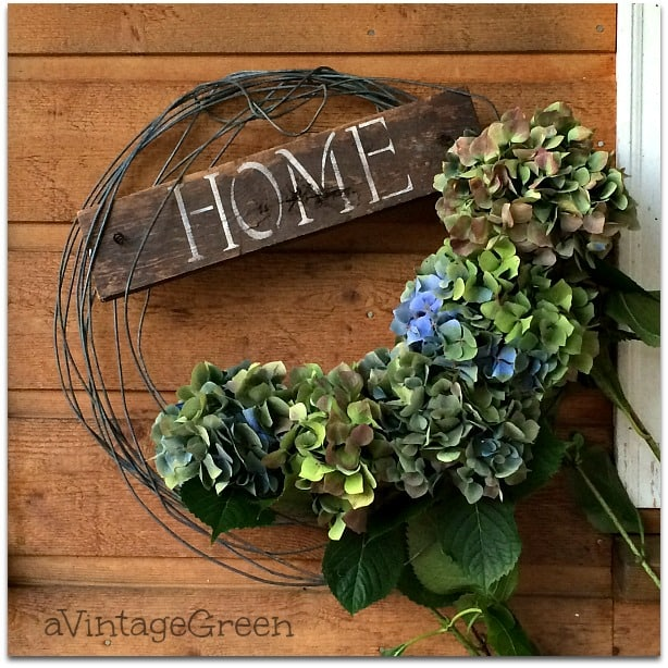 """Hydrangea wreath with """"home' sign"""