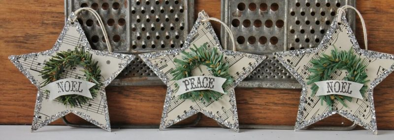 Vintage-music-paper-stars-with-mini-wreath-decoration