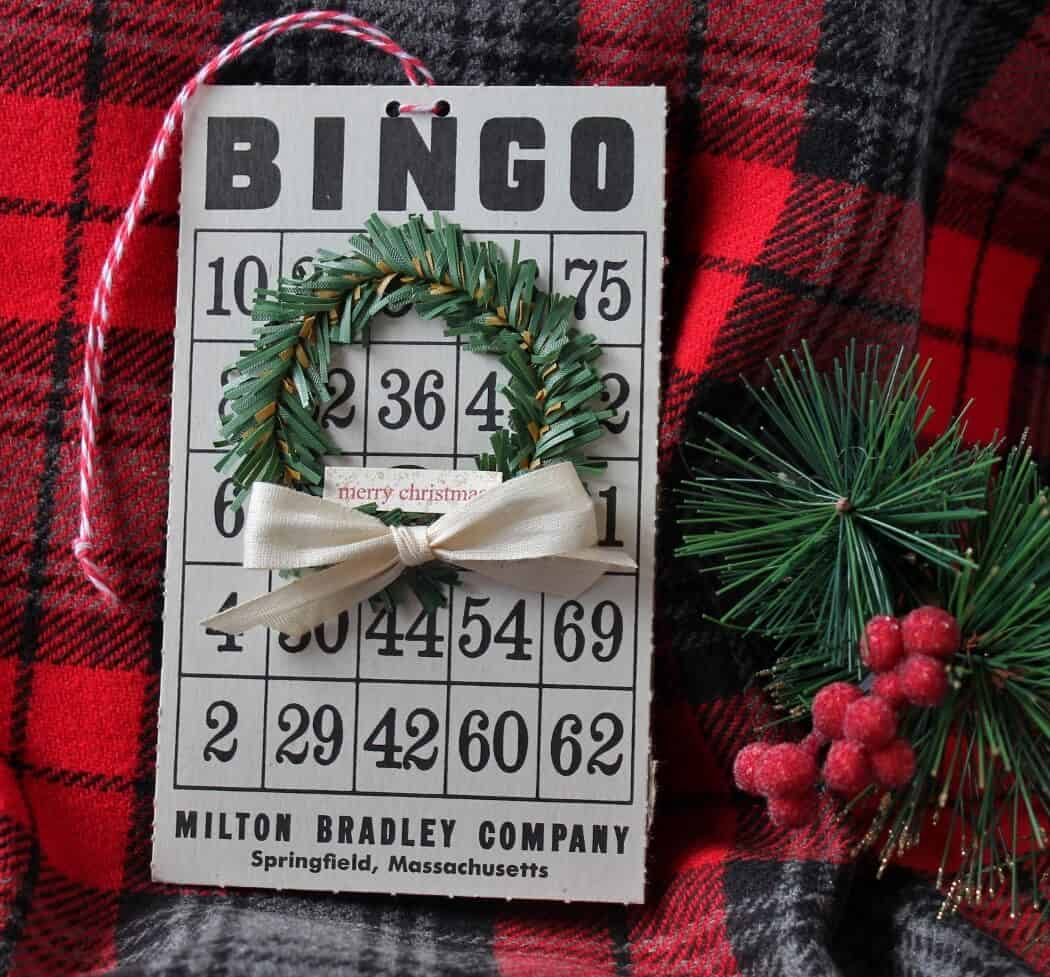 Vintage bingo card with mini wreath