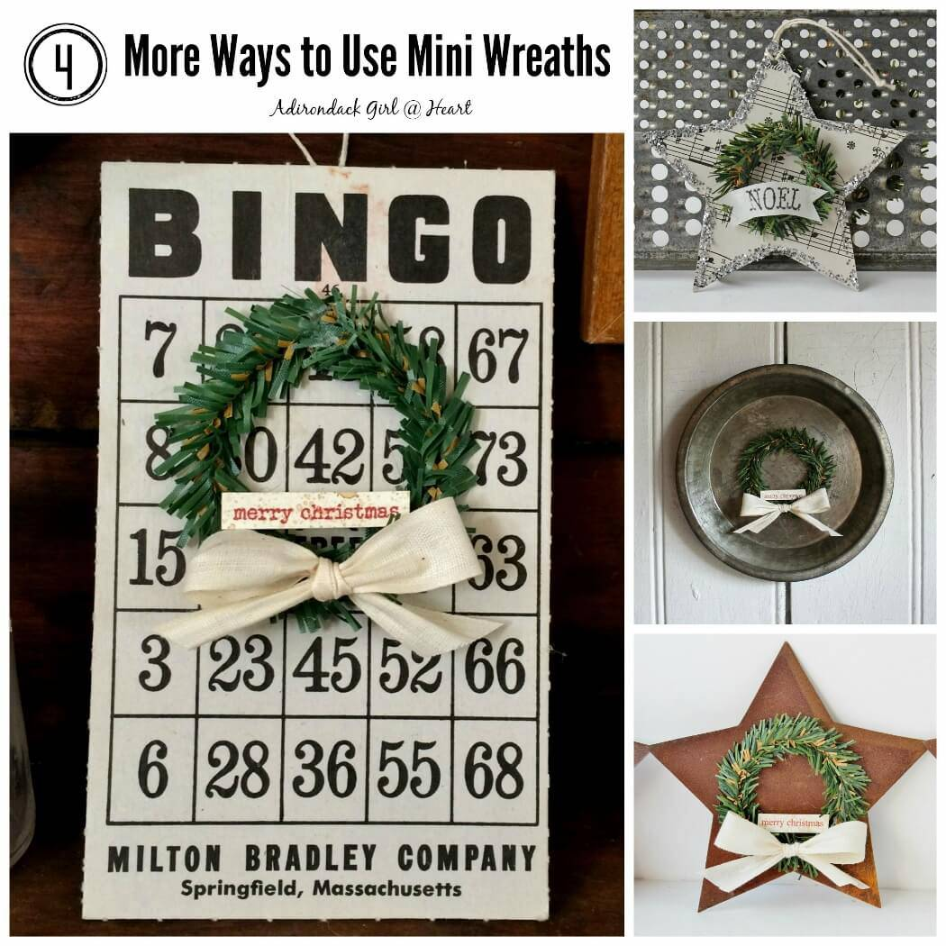 Christmas decorations including vintage bingo card