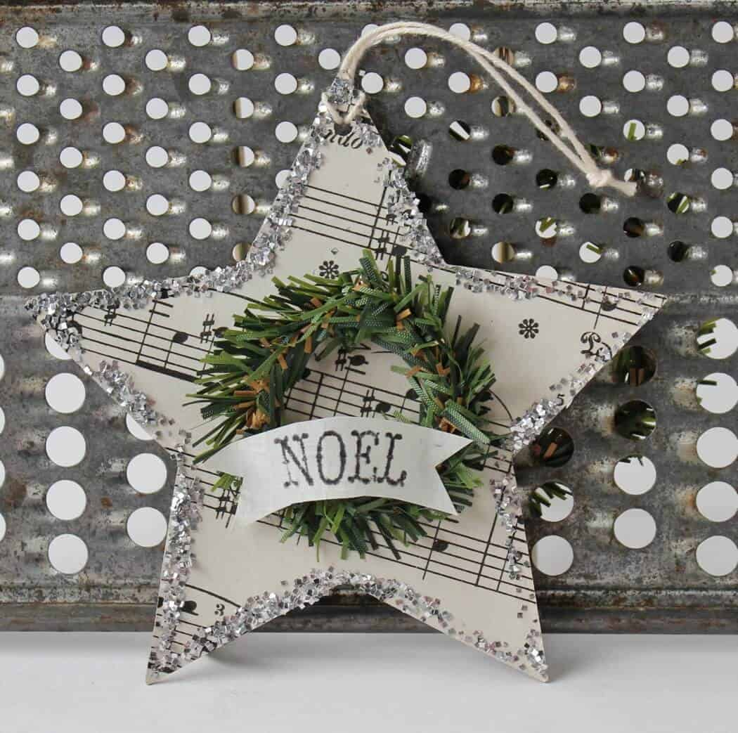 music paper star with mini wreath