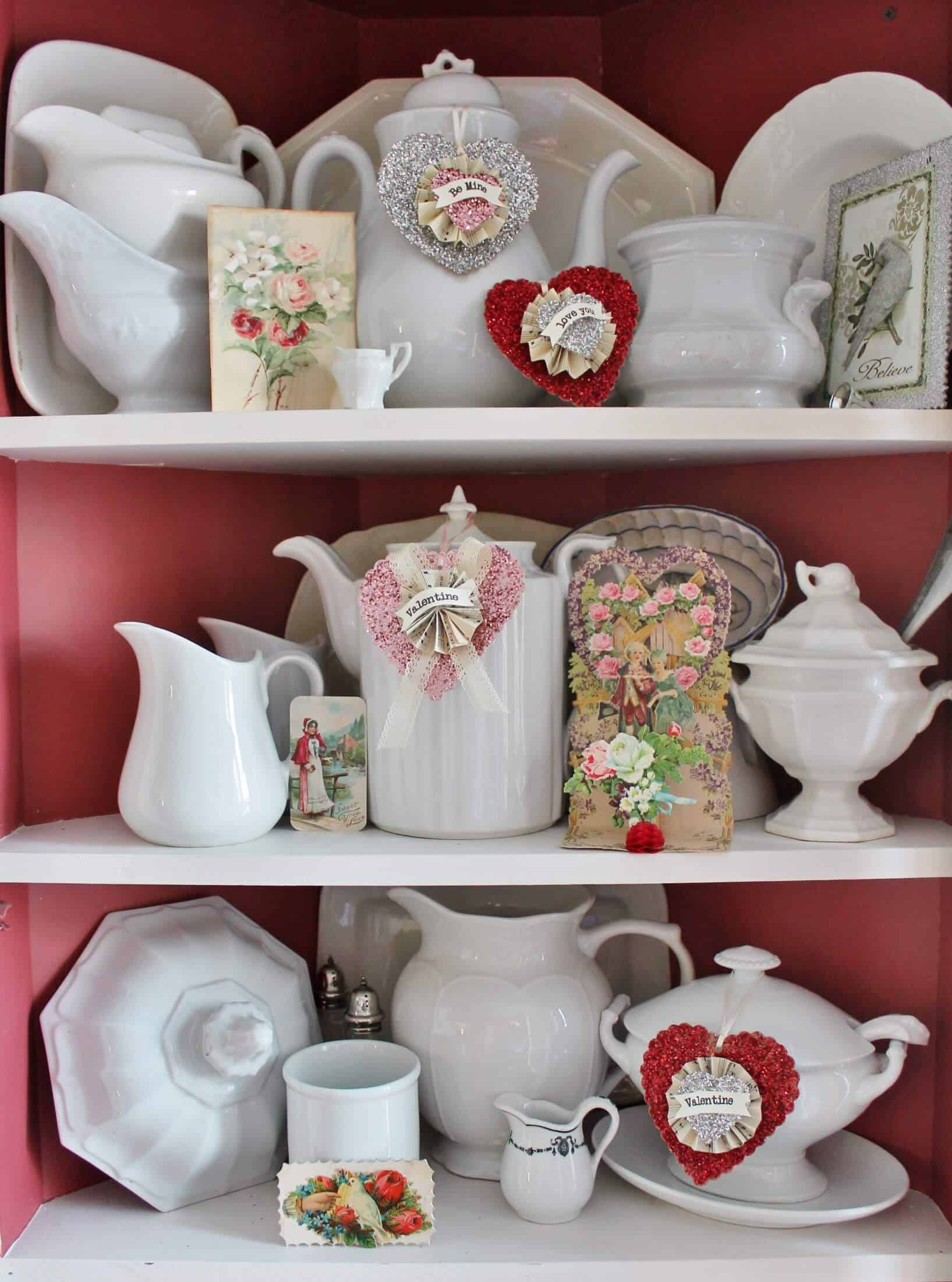 Ironstone cupboard with glittery valentines