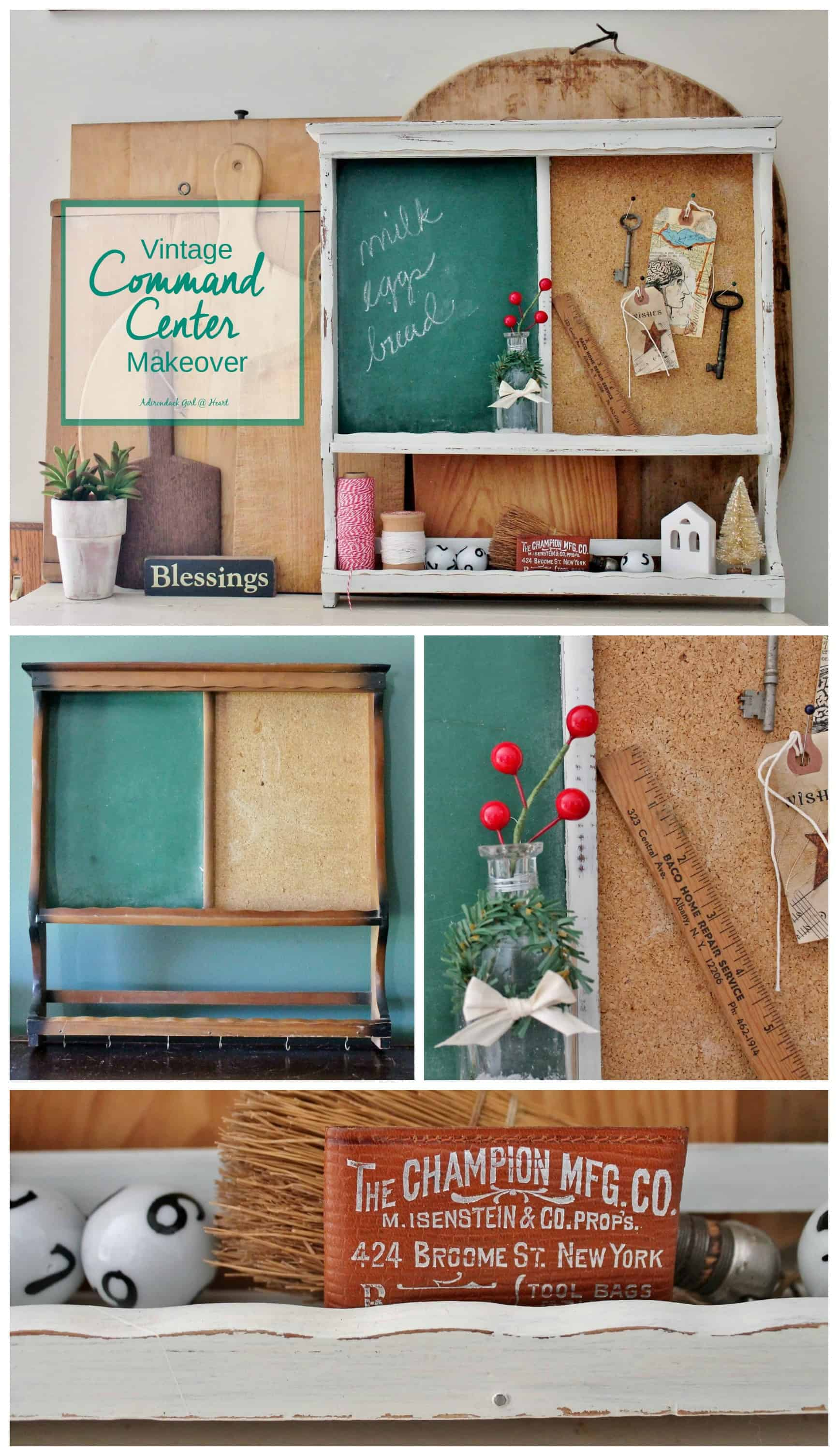 vintage bulletin and chalk board makeover collage