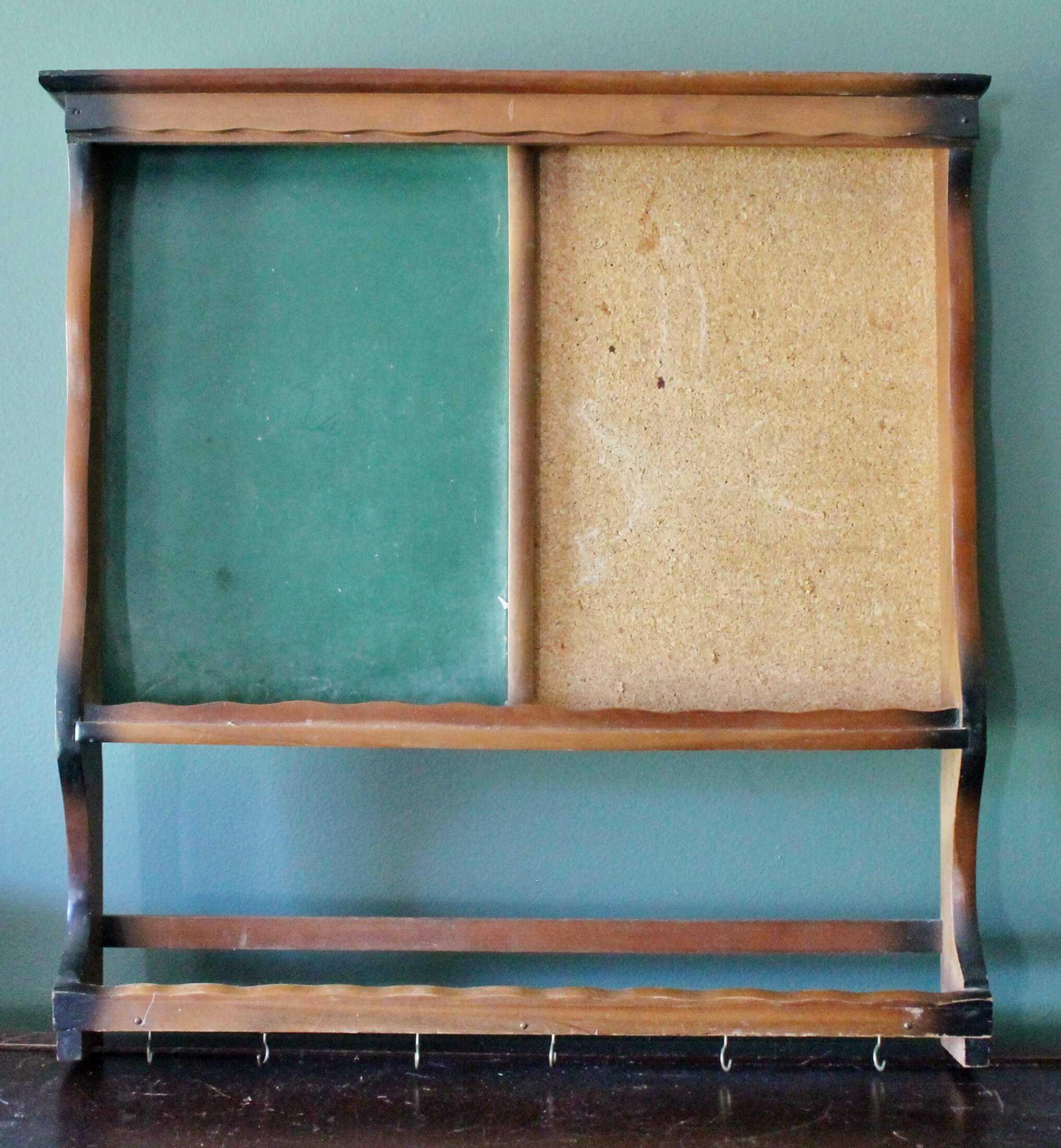 Vintage green chalkboard and bulletin board