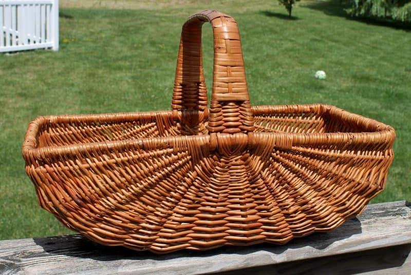 vintage wicker half melon basket