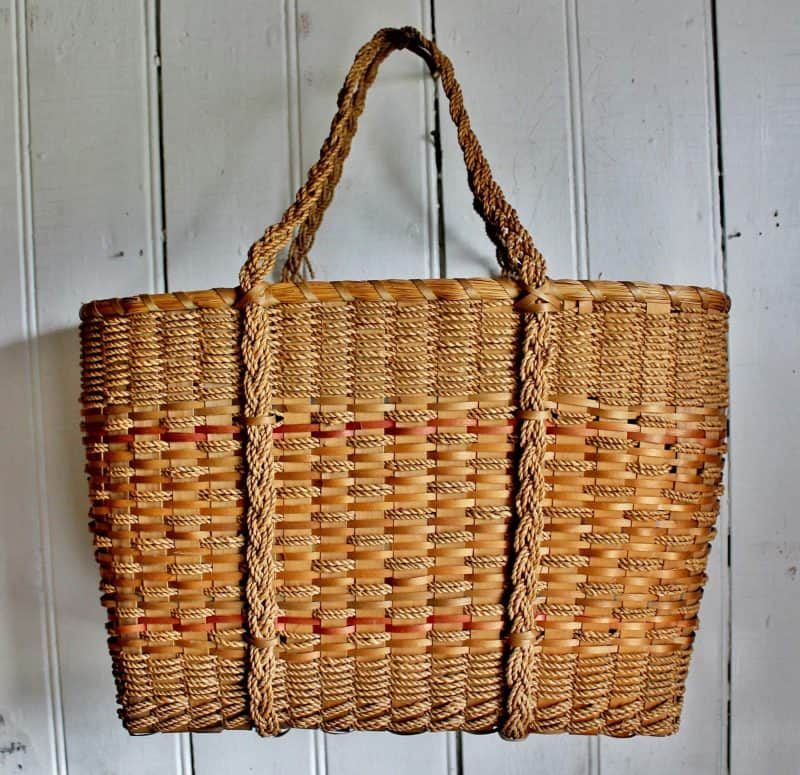 Antique basket tote bag