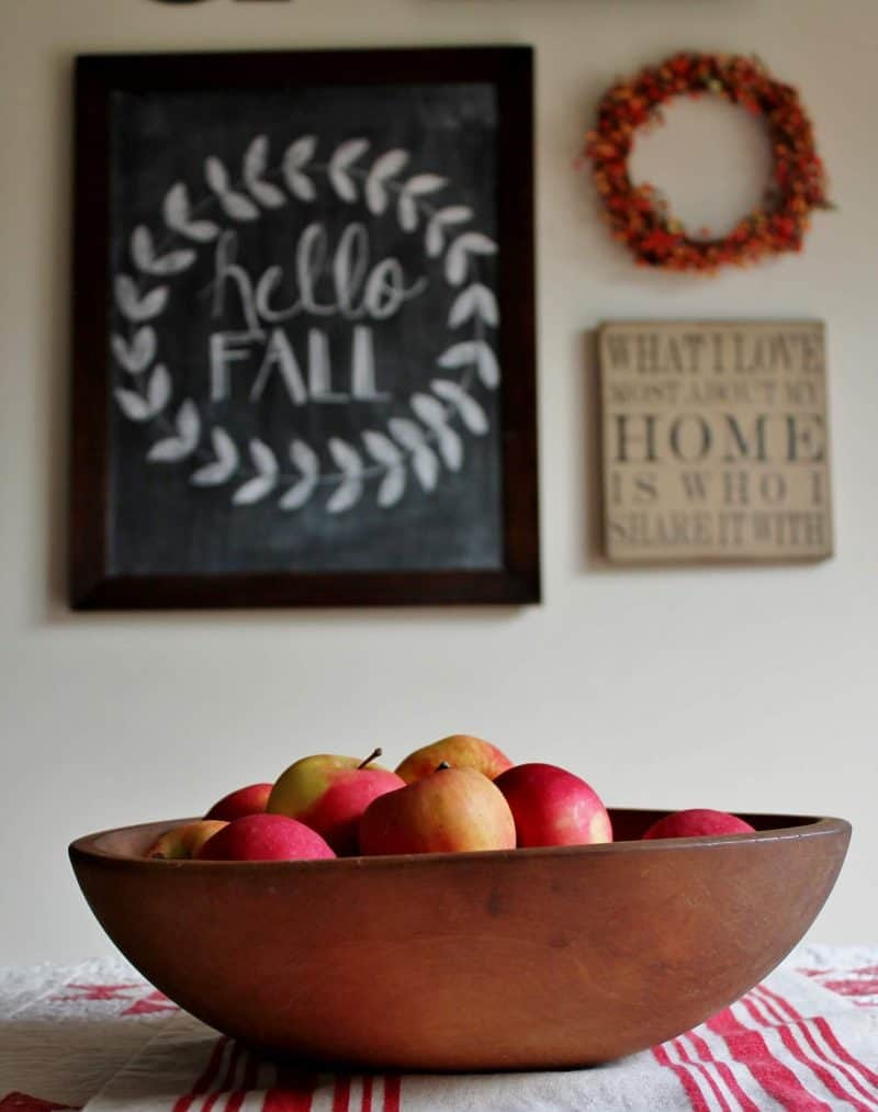 fall gallery wall with large chalkboard