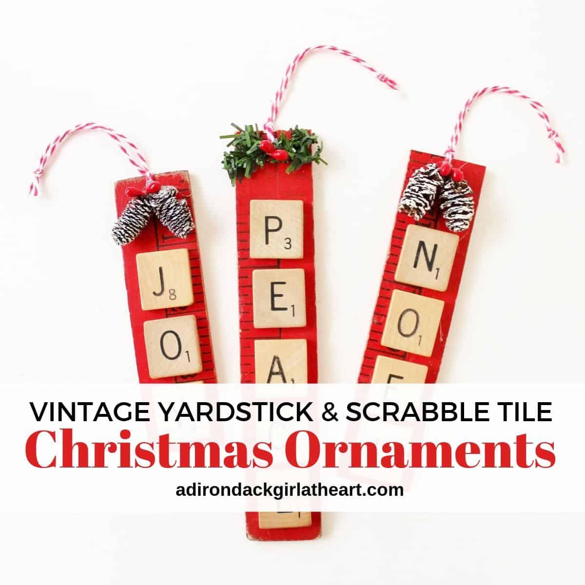 Vintage Yardstick Scrabble Tile Christmas Ornament