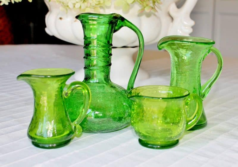 collection of green crackle glass