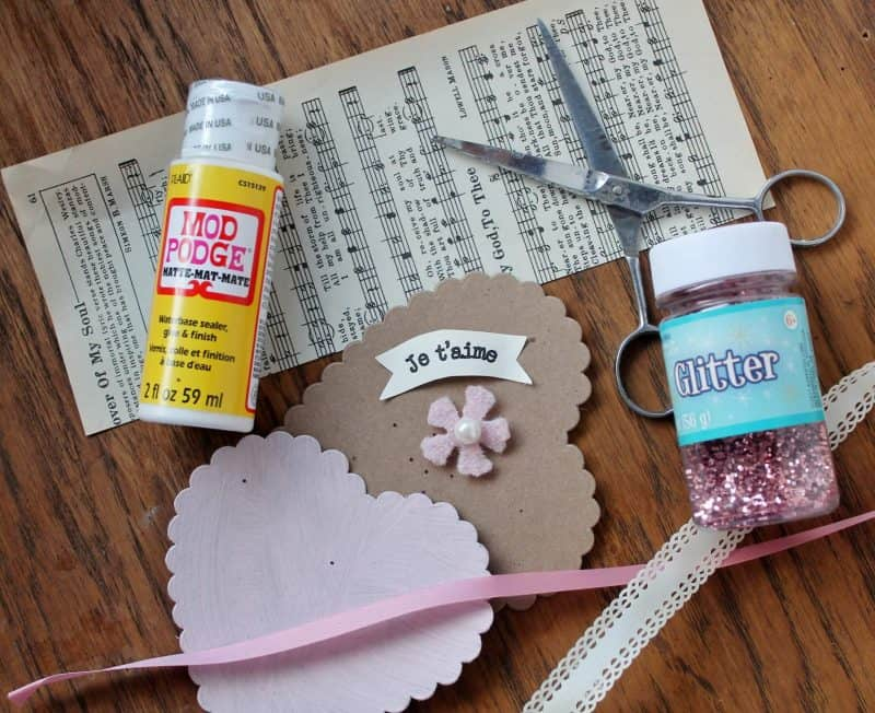 supplies to make glittery valentines
