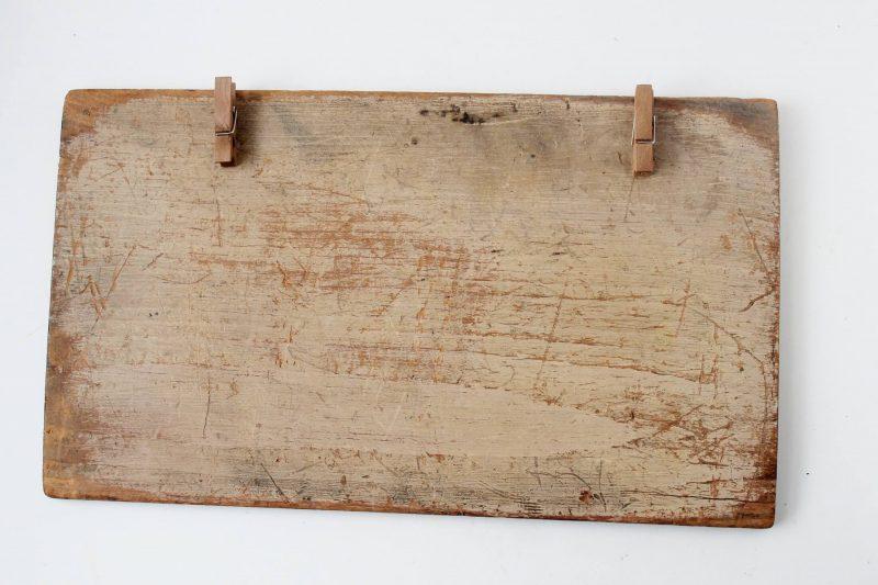vintage wood with mini clothespins glued on