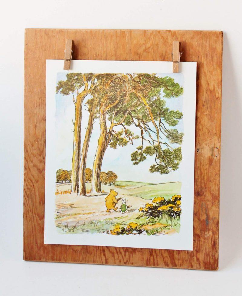 winne the pooh and piglet illustration on vintage wood display