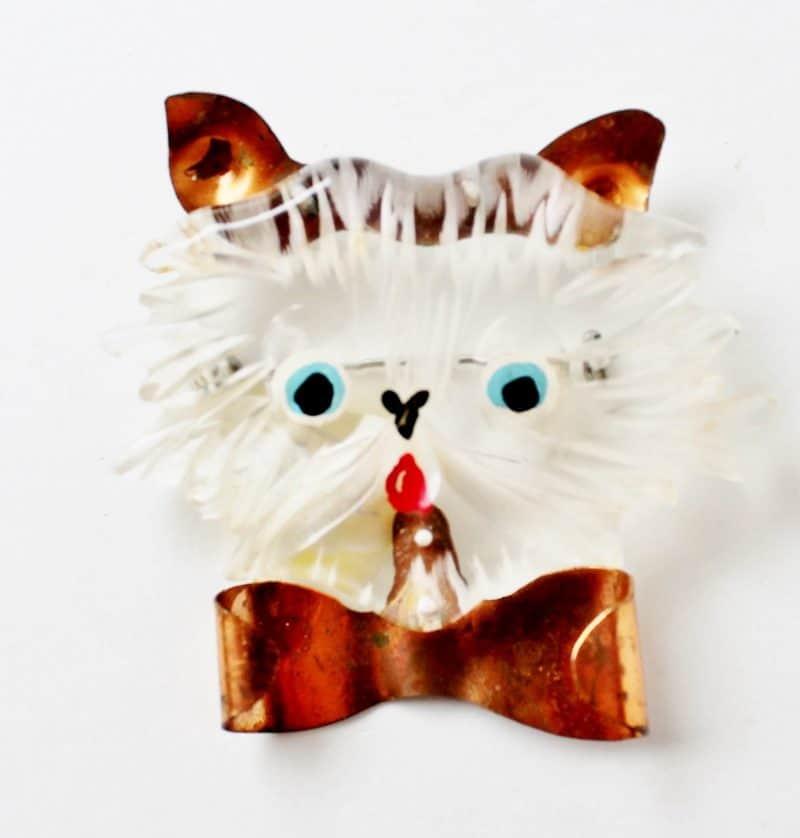 vintage lucite cat pin