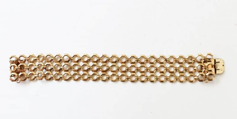 vintage chain link gold mesh bracelet