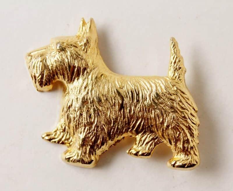 vintage gold tone scottie pin