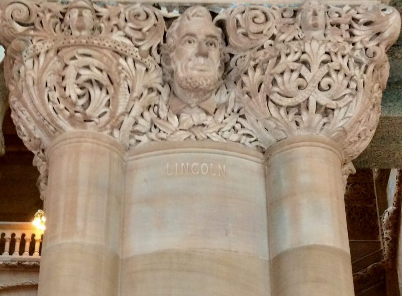 Lincoln's face carved in million dollar staircase nys capitol
