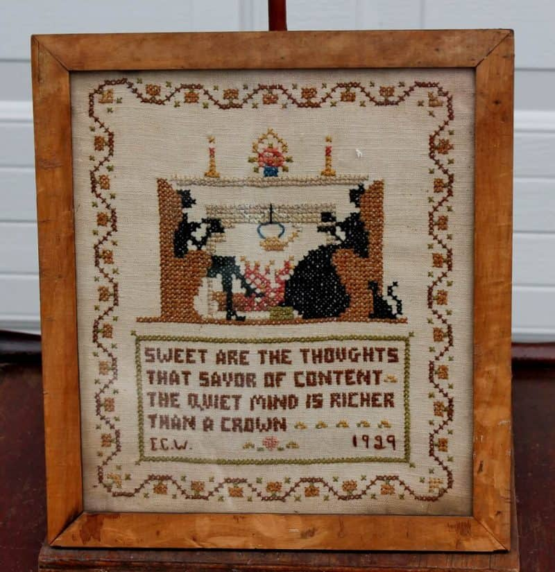 antique cross stitch Sweet are the Thoughts (1163x1200)