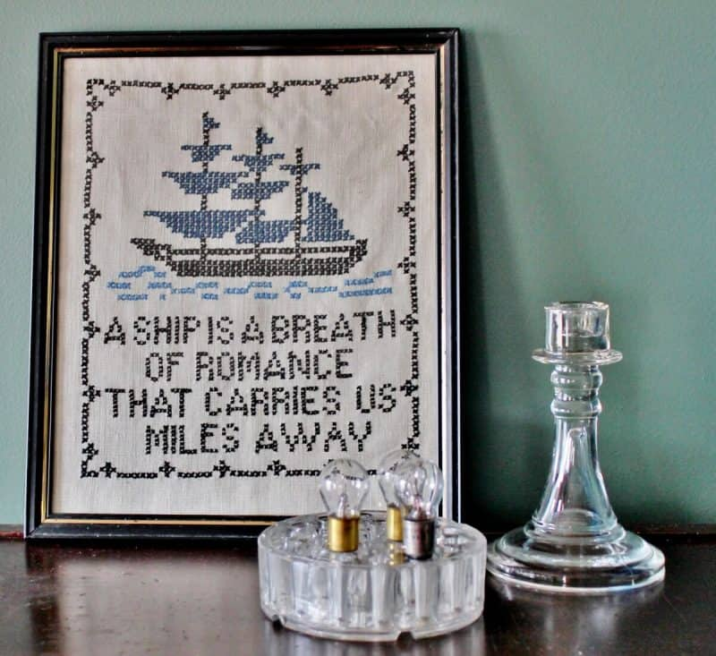 Collecting Vintage cross stitch A Ship is a Breath of Romance(1200x1100)