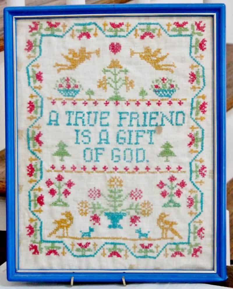 Vintage Cross Stitch A True Friend is a Gift of God (969x1200)