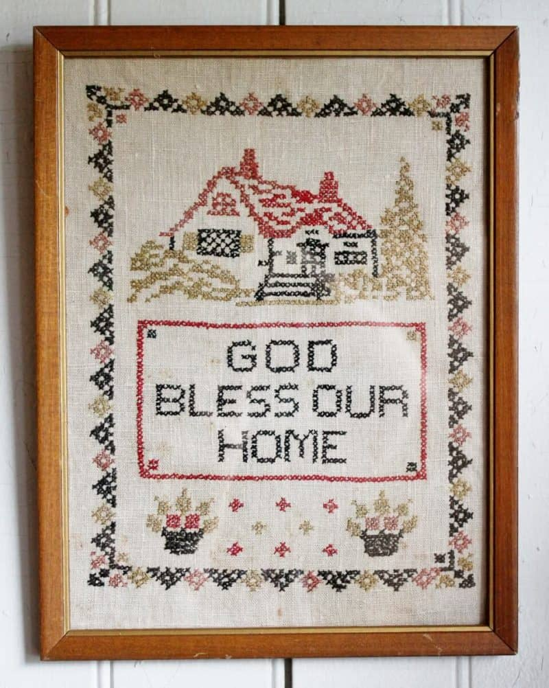 Vintage cross stitch God Bless Our Home (958x1200)