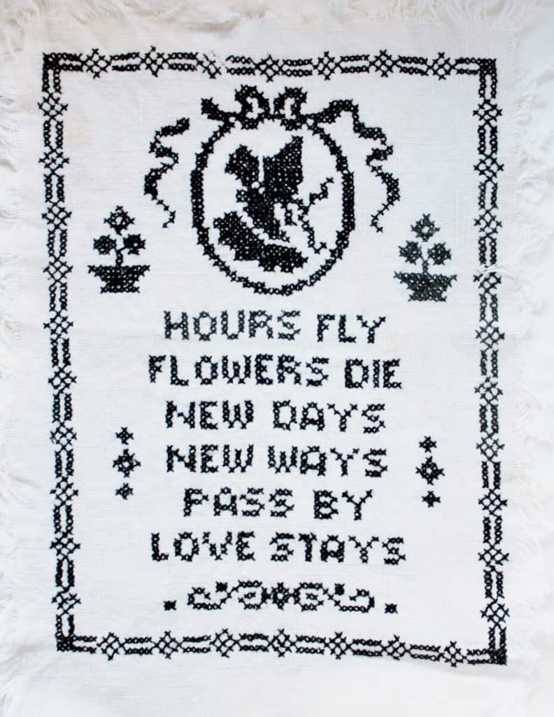 Vintage Cross Stitch Hours Fly, Flowers Die (928x1200