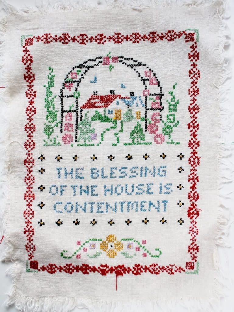 Collecting Vintage Cross Stitch The Blessing of the House is Contentment (901x1200)