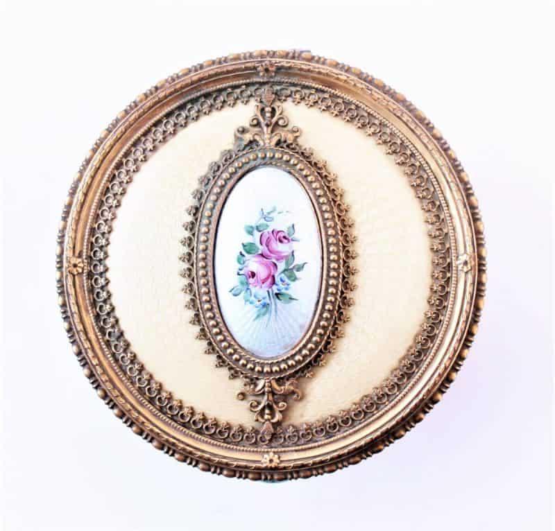 top of vintage vanity jar brass and hand painted