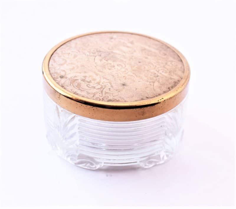 vintage dresser jar with pink lid and copper trim
