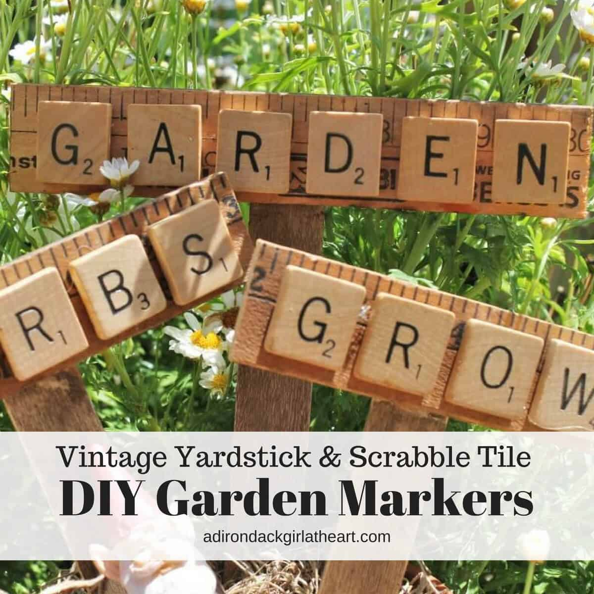 picture regarding Printable Yardstick titled Common Yardstick Scrabble Tile Do-it-yourself Backyard Markers + Free of charge