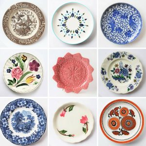 Collection of nine vintage china plates
