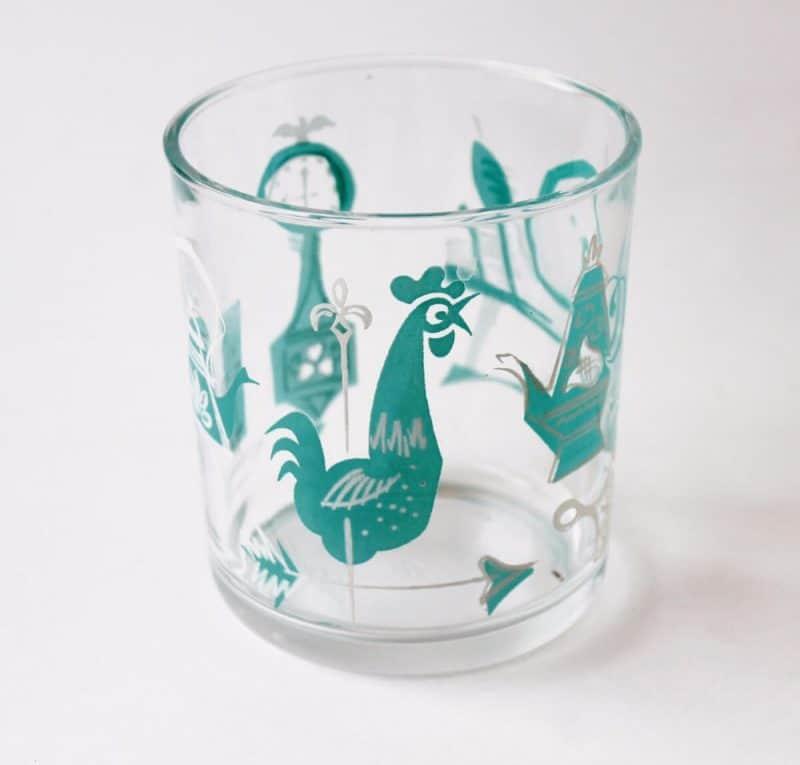 Vintage Hazel Atlas Jar with aqua decoration