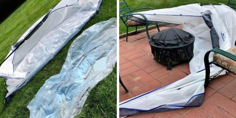 HomeRight spray tent drying out and blown away
