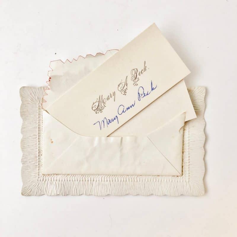 Inside envelope of Victorian Calling Card