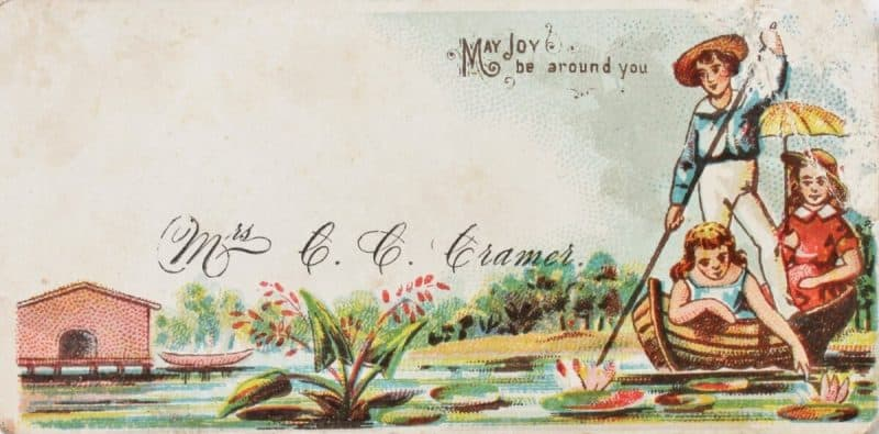 Antique Calling Card with Children in Boat