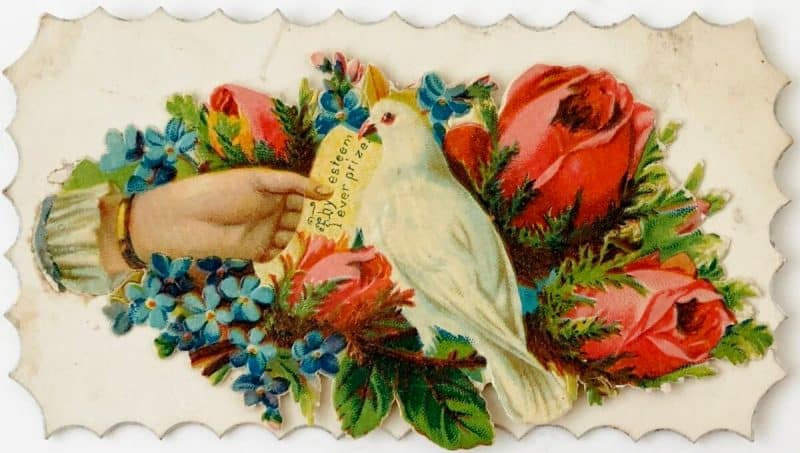 Victorian Calling Card with hand, dove, red rose