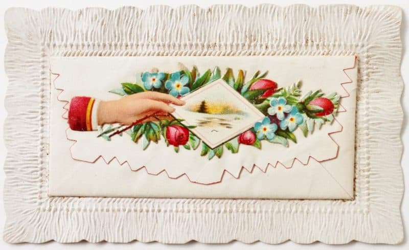 Victorian Calling Card with hand