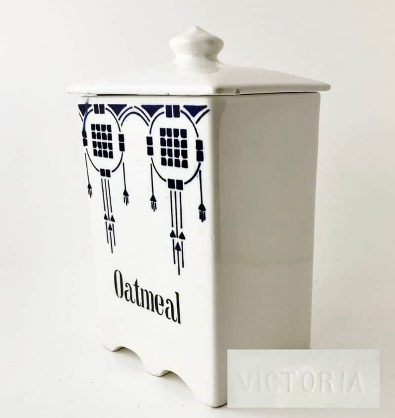 what's selling in vintage & antiques: Antique english oatmeal canister