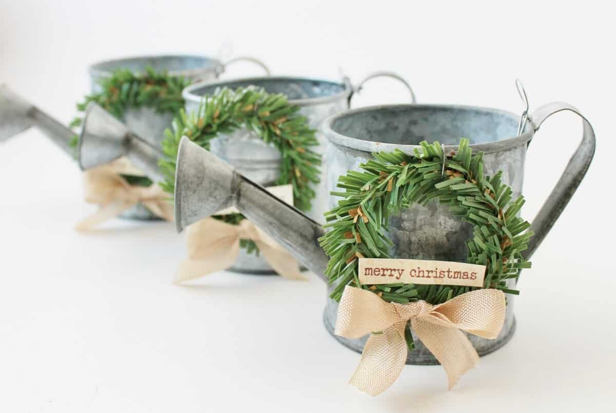 Mini Watering Cans With Wreaths