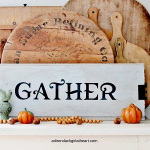 Scrap wood farmhouse Gather sign adirondackgirlatheart.com