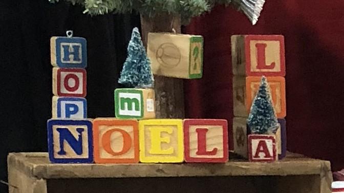 Vintage Block + Bottle Brush Tree Christmas Decorations (Day